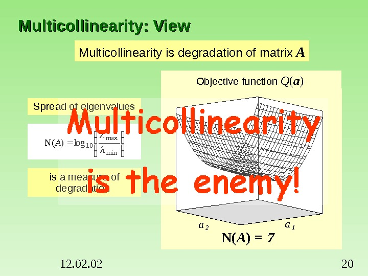 12. 02 20 Multicollinearity: View Multicollinearity is degradation of matrix  A 00. 81. 62. 43.