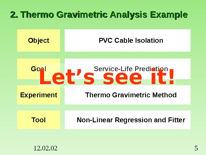 12. 02 52. Thermo Gravimetric Analysis Example Object PVC Cable Isolation Goal Service-Life Prediction Experiment Thermo