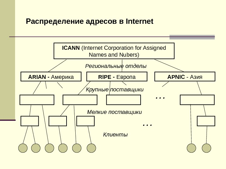 Распределение адресов в Internet ICANN (Internet Corporation for Assigned Names and Nubers) Региональные отделы