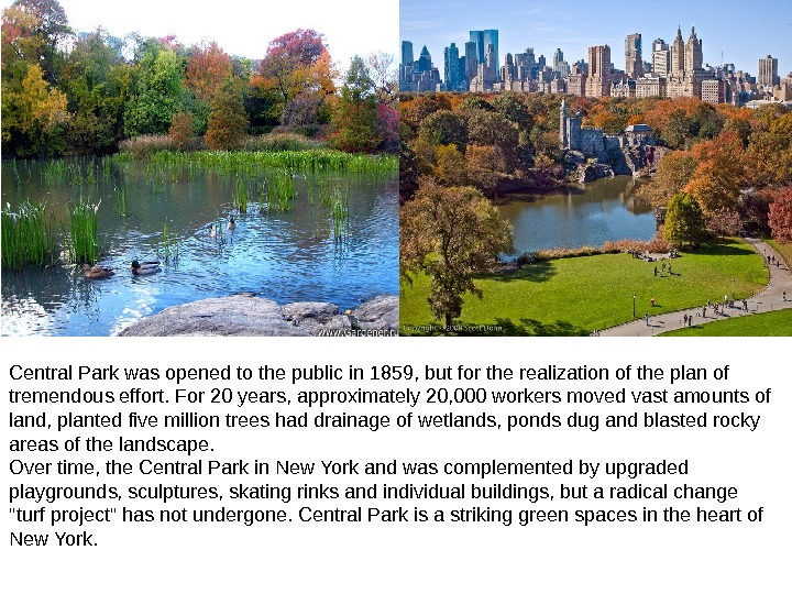Central Park was opened to the public in 1859, but for the realization of the plan