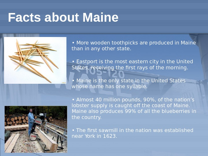 •  More wooden toothpicks are produced in Maine than in any other state. •