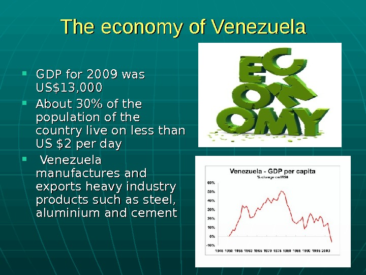 The economy of Venezuela GDP for 2009 was US$13, 000 About 30 of the
