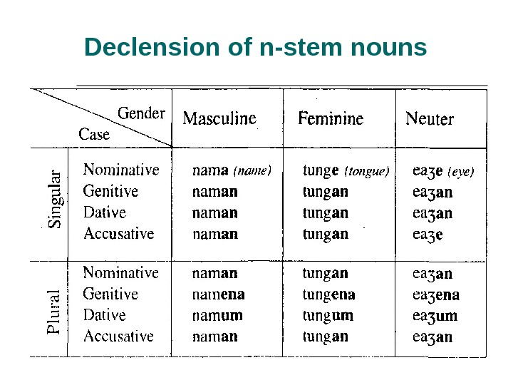Declension of n-stem nouns