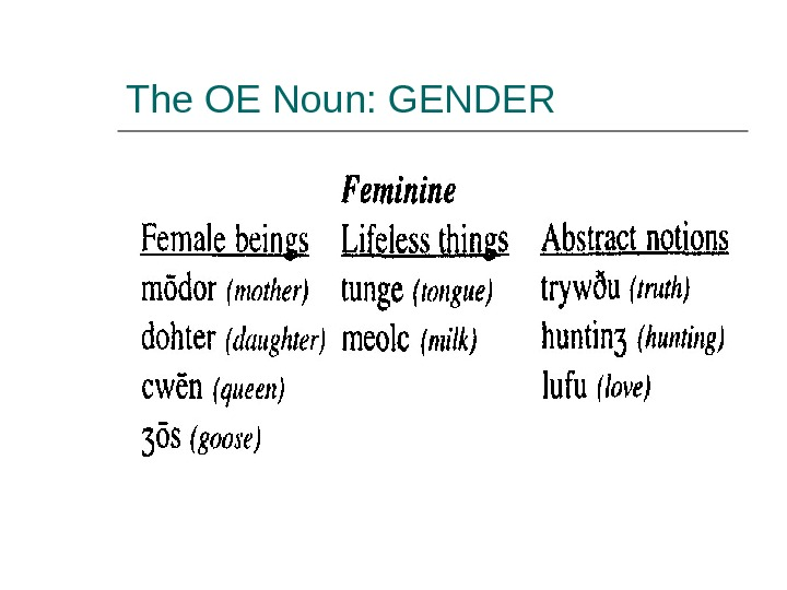 The OE Noun: GENDER