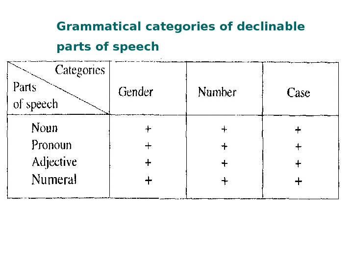 Grammatical categories of declinable parts of speech