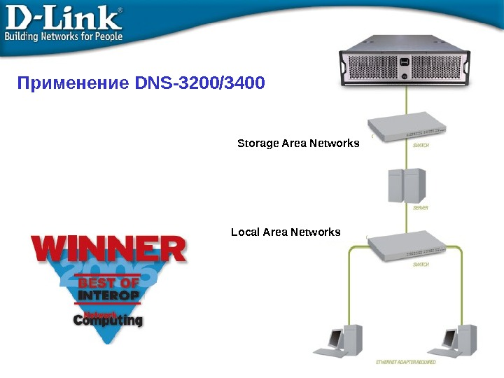 Применение DNS-3200/3400 Storage Area Networks Local Area Networks