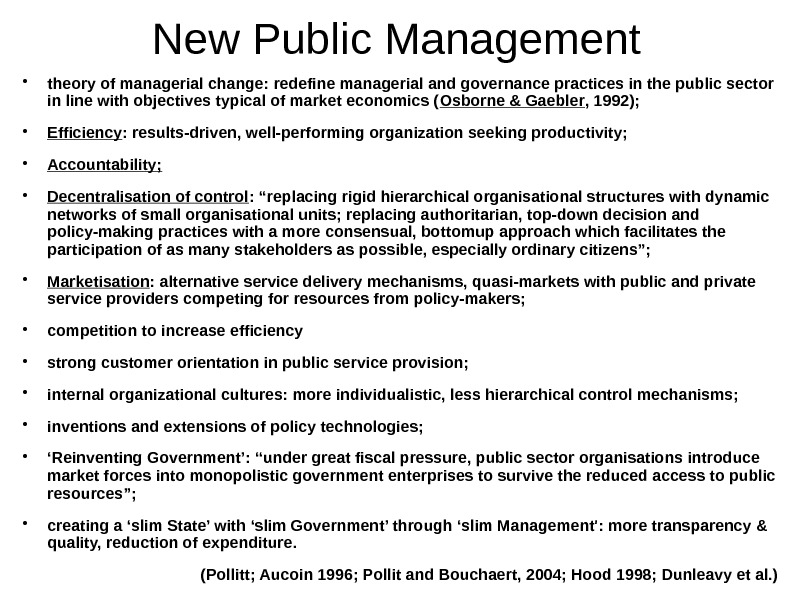 New Public Management theory of managerial change: redefine managerial and governance practices in the
