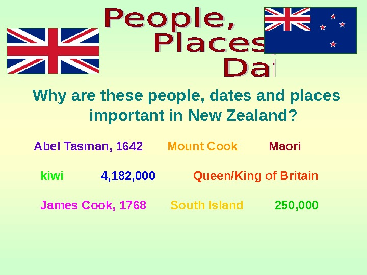 Why are these people, dates and places important in New Zealand? Abel Tasman, 1642