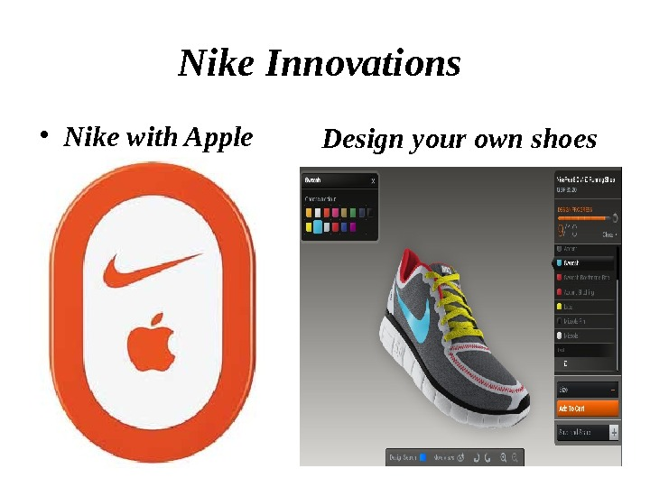 Nike Innovations  • Nike with Apple Design your own shoes