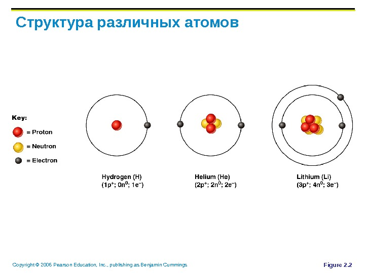 Copyright © 2006 Pearson Education, Inc. , publishing as Benjamin Cummings Структура различных атомов Figure 2.