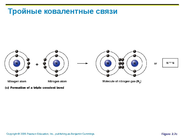 Copyright © 2006 Pearson Education, Inc. , publishing as Benjamin Cummings Тройные ковалентные связи Figure 2.