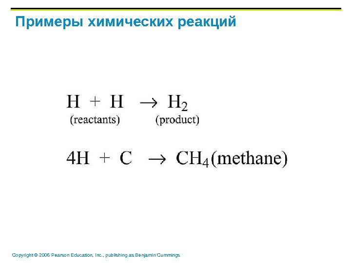 Copyright © 2006 Pearson Education, Inc. , publishing as Benjamin Cummings Примеры химических реакций