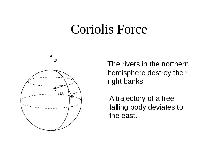 Coriolis Force The rivers in the northern hemisphere destroy their right banks.  A
