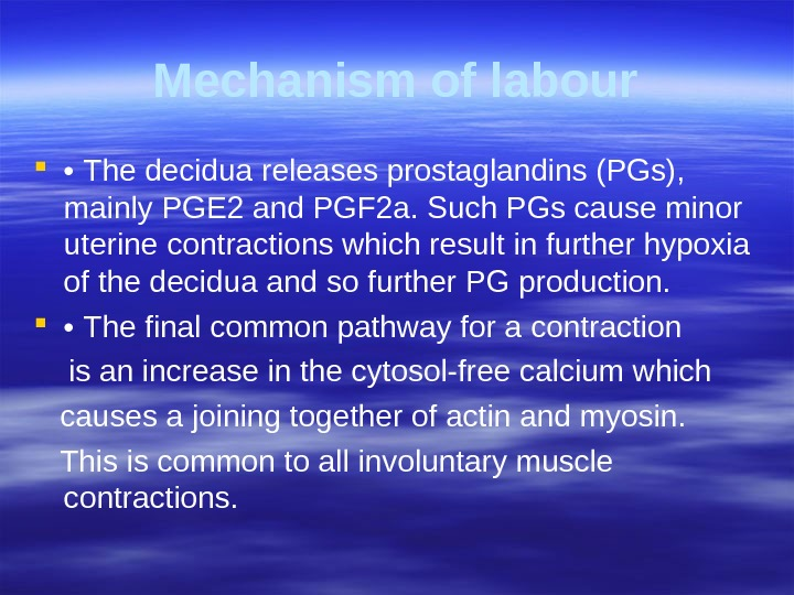 Mechanism of labour  •  The decidua releases prostaglandins (PGs),  mainly  PGE 2