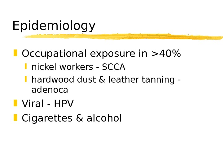 Epidemiology Occupational exposure in 40 nickel workers - SCCA hardwood dust & leather tanning