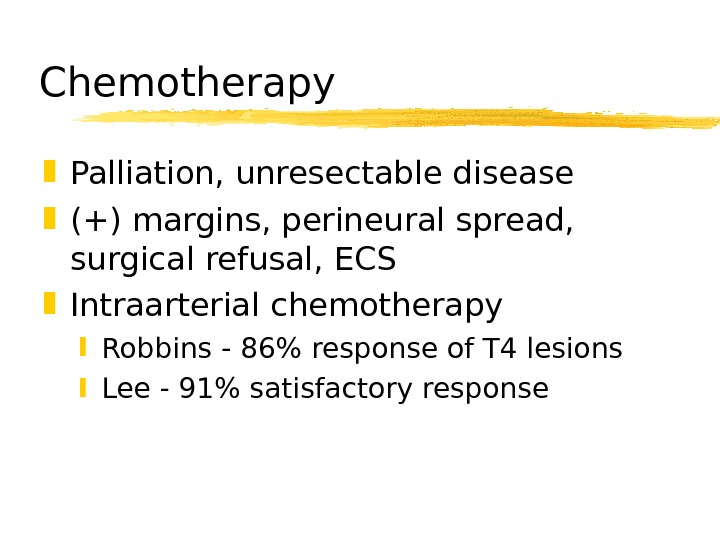 Chemotherapy Palliation, unresectable disease (+) margins, perineural spread,  surgical refusal, ECS Intraarterial chemotherapy