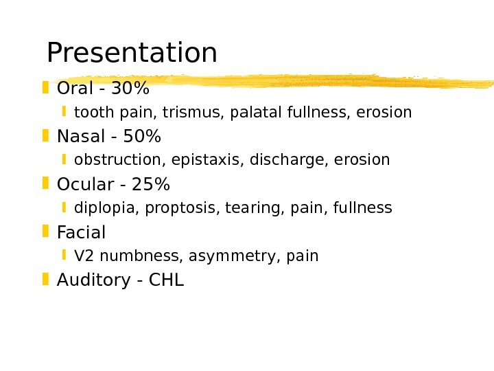 Presentation Oral - 30 tooth pain, trismus, palatal fullness, erosion Nasal - 50 obstruction,