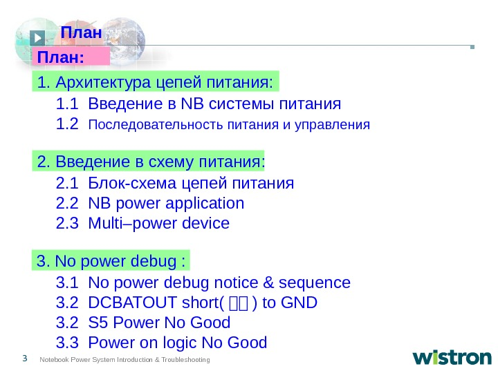 3 Notebook Power System Introduction & Troubleshooting 1. 1  Введение в NB системы питания 1.