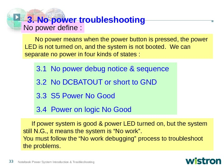 33 Notebook Power System Introduction & Troubleshooting  No power means when the power button is