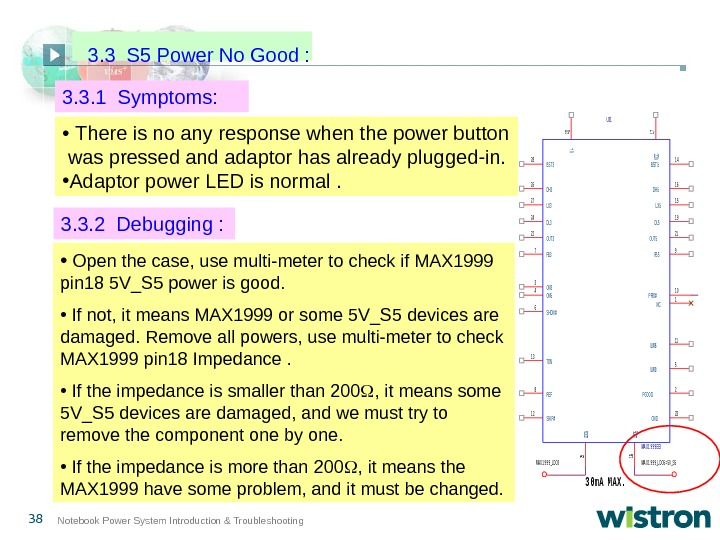 38 Notebook Power System Introduction & Troubleshooting 3. 3. 1 Symptoms: U 31 MA X 1