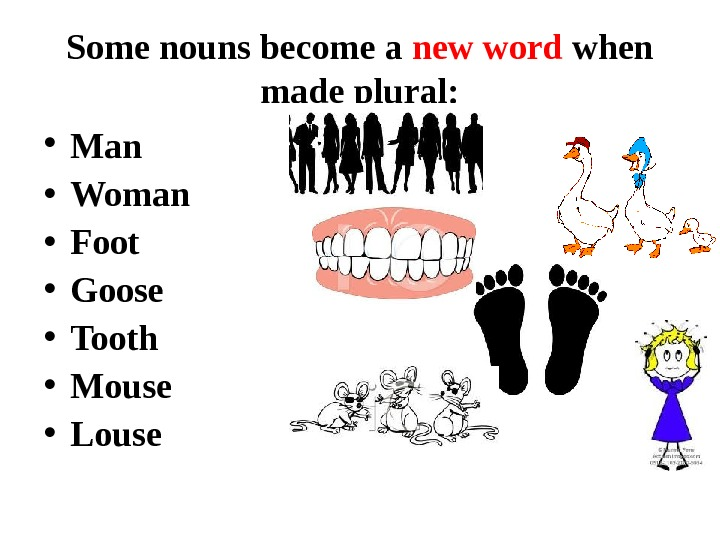 Some nouns become a new word when made plural:  • Man  • Woman •