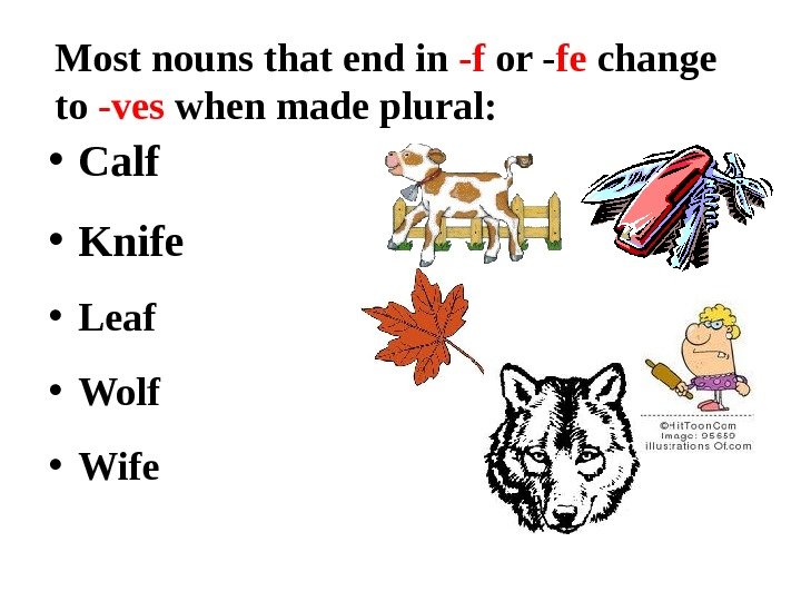 Most nouns that end in -f or - fe change to -ves when made plural: