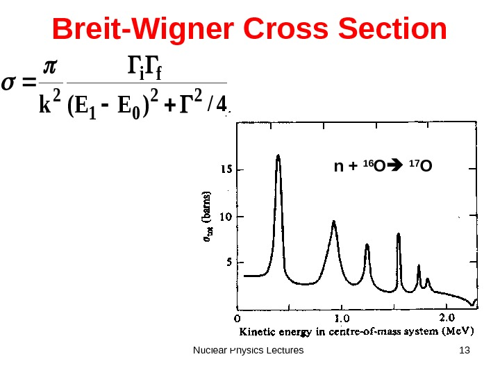 Nuclear Physics Lectures 13 Breit-Wigner Cross Section 4/)EE(k 22 01 fi 2 n + 16 O
