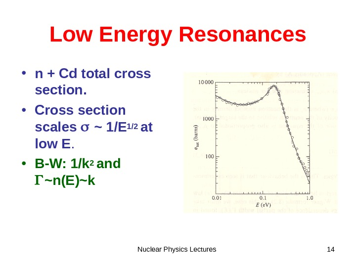 Nuclear Physics Lectures 14 Low Energy Resonances • n + Cd total cross section.  •