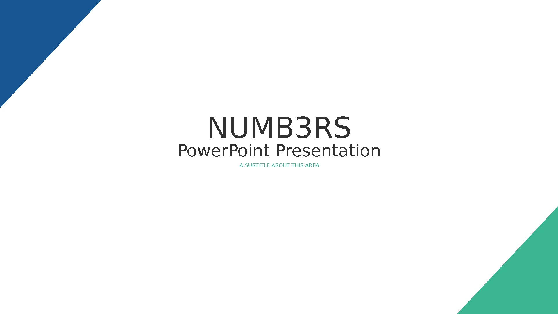Power. Point Presentation A SUBTITLE ABOUT THIS AREANUMB 3 RS
