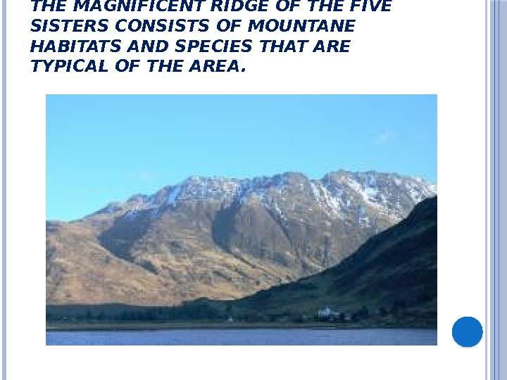 THE MAGNIFICENT RIDGE OF THE FIVE SISTERS CONSISTS OF MOUNTANE HABITATS AND SPECIES THAT ARE TYPICAL