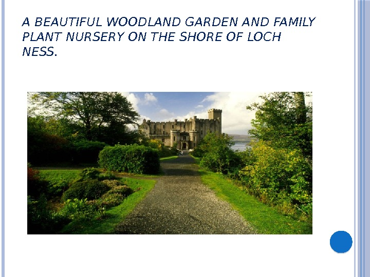 A BEAUTIFUL WOODLAND GARDEN AND FAMILY PLANT NURSERY ON THE SHORE OF LOCH NESS.