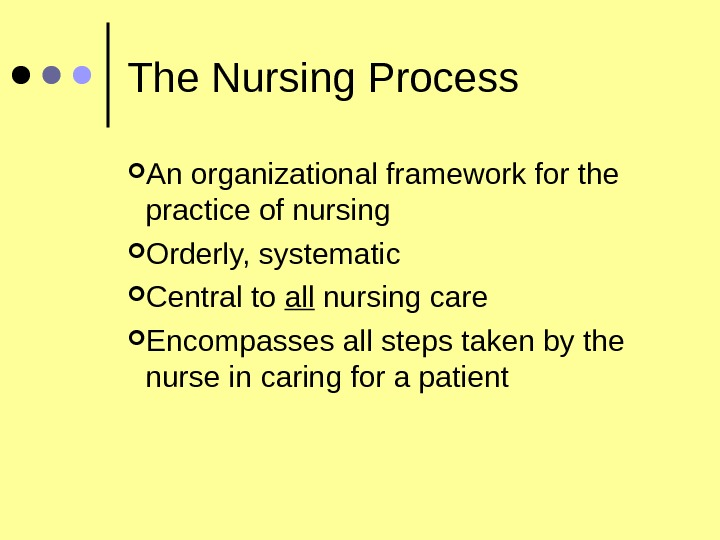 The Nursing Process An organizational framework for the practice of nursing Orderly, systematic Central to all