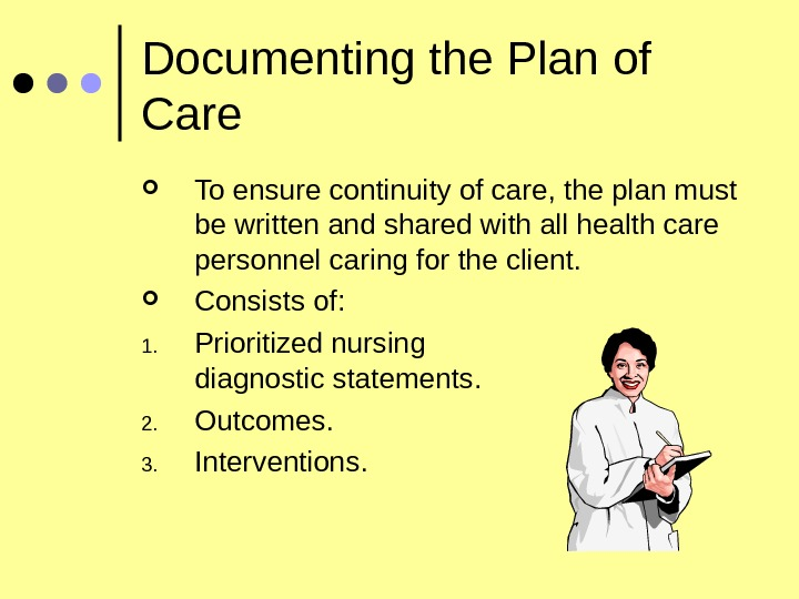 Documenting the Plan of Care To ensure continuity of care, the plan must be written and