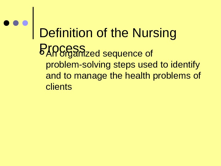 Definition of the Nursing Process An organized sequence of problem-solving steps used to identify and to