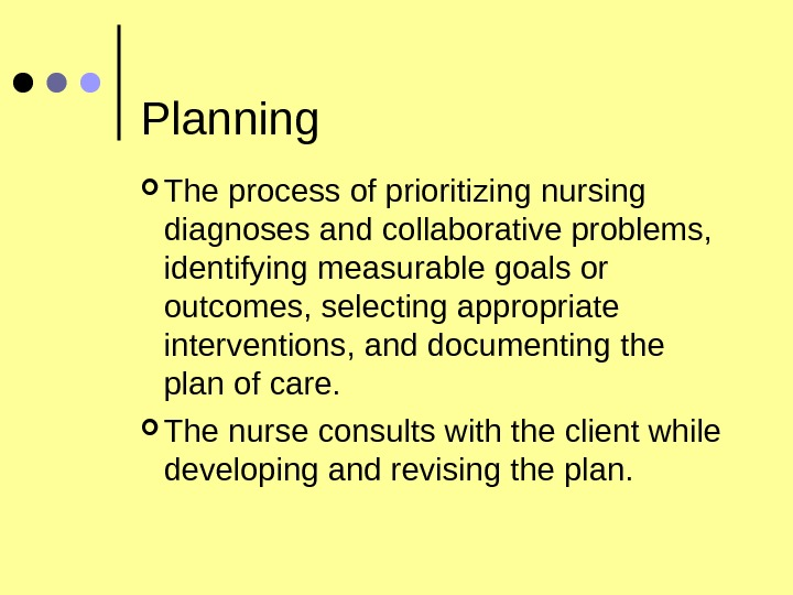 Planning The process of prioritizing nursing diagnoses and collaborative problems,  identifying measurable goals or outcomes,