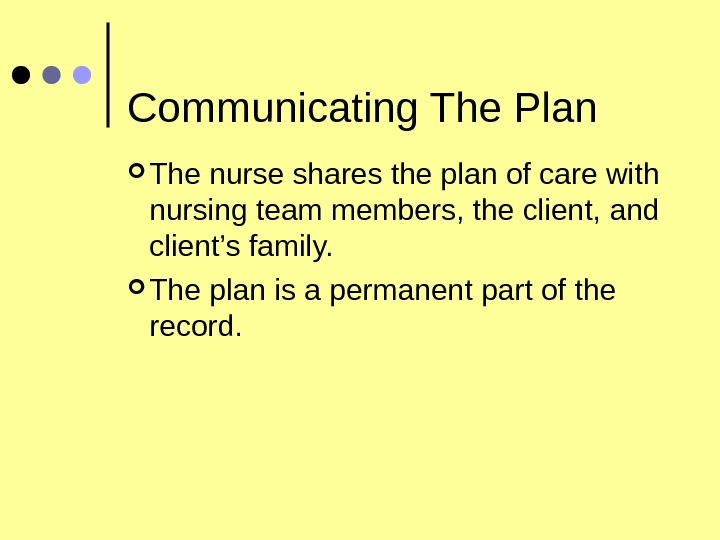 Communicating The Plan The nurse shares the plan of care with nursing team members, the client,