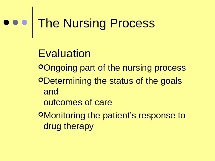 The Nursing Process Evaluation Ongoing part of the nursing process Determining the status of the goals