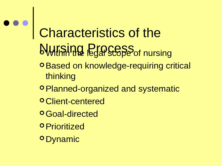 Characteristics of the Nursing Process Within the legal scope of nursing Based on knowledge-requiring critical thinking