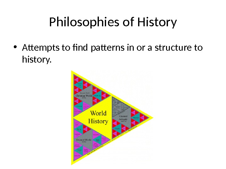Philosophies of History • Attempts to find patterns in or a structure to history.
