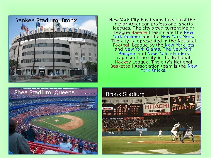 New York City has teams in each of the major American professional sports leagues.