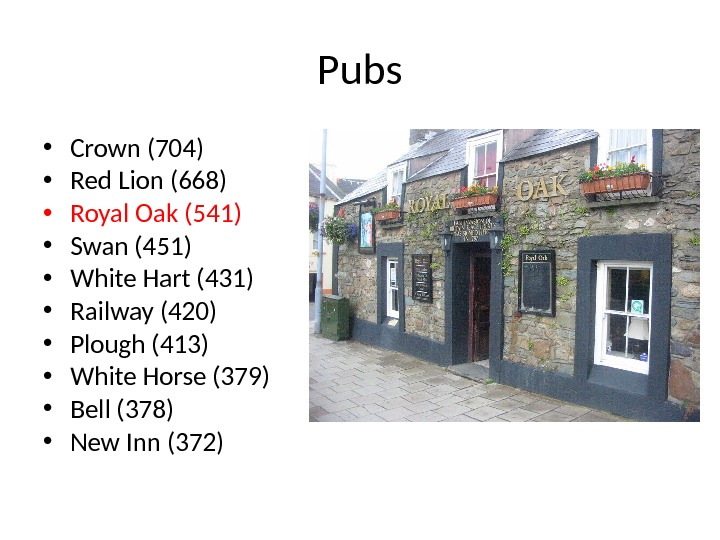 Pubs • Crown (704)  • Red Lion (668)  • Royal Oak (541)  •