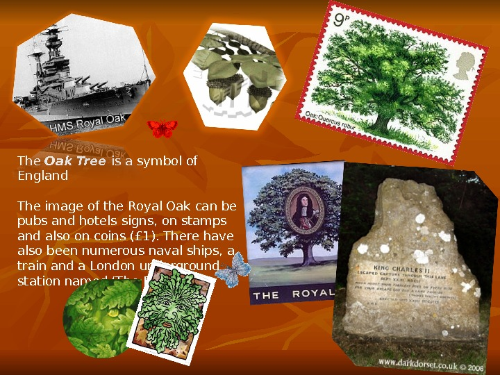 The Oak Tree is a symbol of England The image of the Royal Oak can be