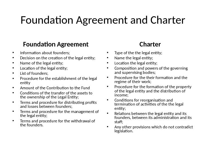 Foundation Agreement and Charter Foundation Agreement • Information about founders;  • Decision on the creation