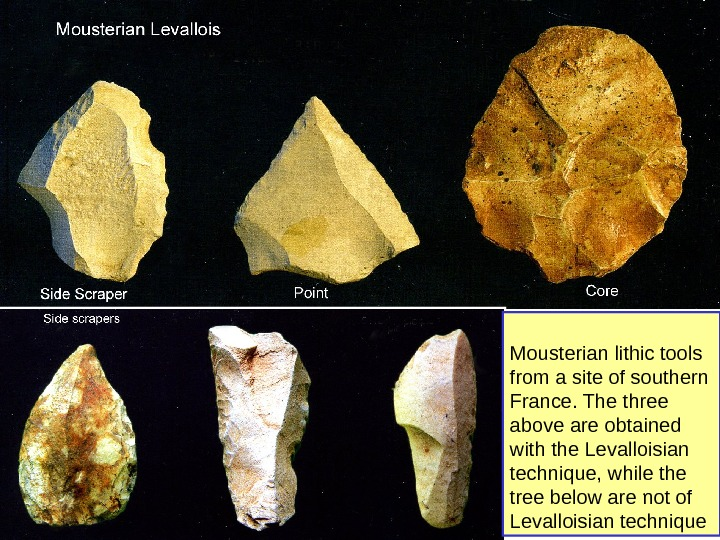 Mousterian lithic tools from a site of southern France. The three above are obtained