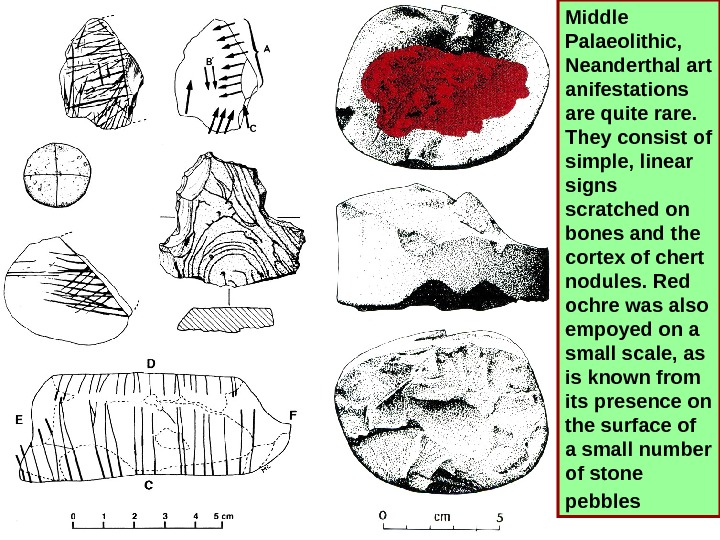 Middle Palaeolithic,  Neanderthal art anifestations  are quite rare. They consist of simple,