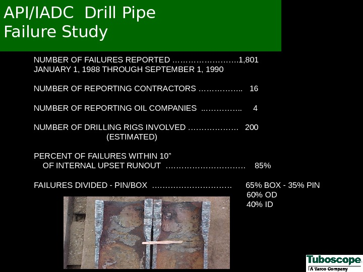 API/IADC Drill Pipe Failure Study NUMBER OF FAILURES REPORTED …………. 1, 801    JANUARY