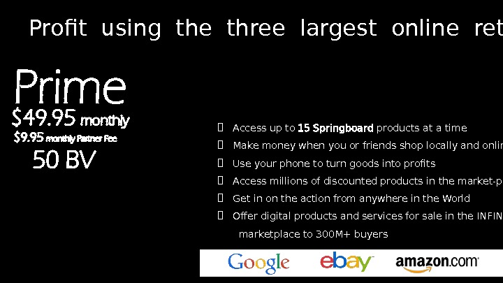 Profit using the three largest online retailers  Access up to 15 Springboard products at a