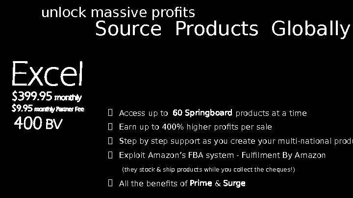 Source Products Globally unlock massive profits  Access up to  60 Springboard products at a