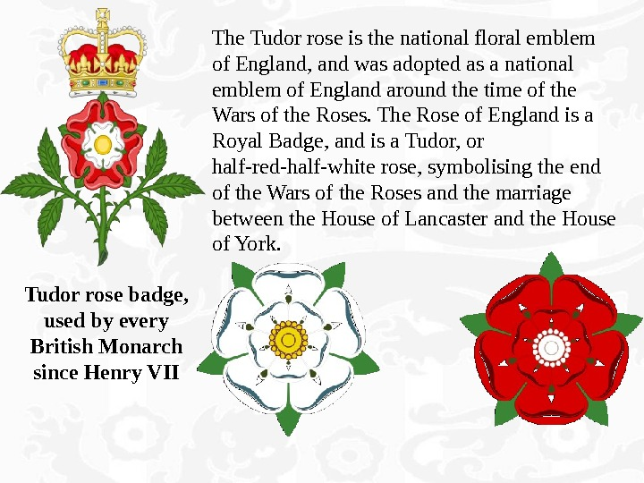 The Tudor rose is the national floral emblem of England, and was adopted as a national
