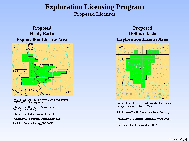54 Exploration Licensing Program Proposed Licenses Usibelli Coal Mine Inc. proposed a work commitment of $500,